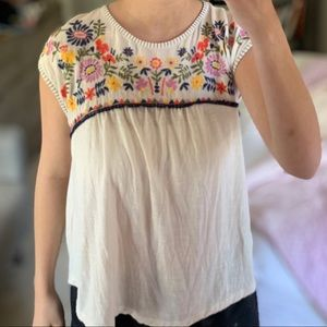 Hollister Floral Embroidered Peasant Top